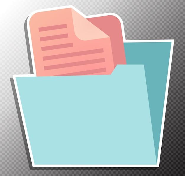 Ilustracja folderu dokumentów w stylu płaskim