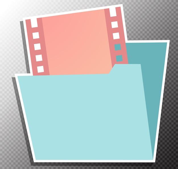 Ilustracja folderu wideo w stylu płaskim