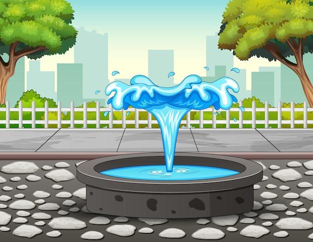 Ilustracja fontanny w parku miejskim