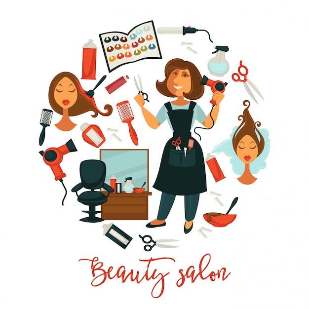 Ilustracja fryzjer salon kosmetyczny lub kobieta do profesjonalnego farbowania włosów,