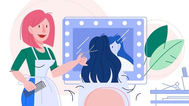 Ilustracja fryzjerka trzymając nożyczki.