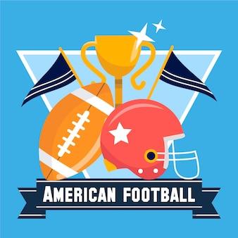 Ilustracja futbolu amerykańskiego z kubkiem