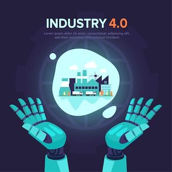 Ilustracja futurystyczna w przemyśle 4.0 z asystentem robota