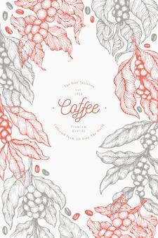 Ilustracja gałąź drzewa kawy. kawa w stylu vintage ręcznie rysowane grawerowane styl ilustracji.