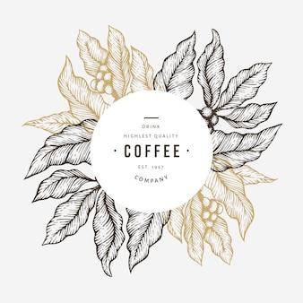 Ilustracja gałąź drzewa kawy.