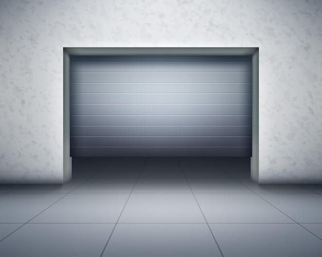 Ilustracja garażu, widok z przodu. realistyczna kompozycja z betonowymi ścianami i szarą podłogą wyłożoną kafelkami oraz otwieranymi drzwiami z ciemnym wnętrzem