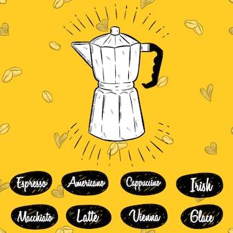 Ilustracja garnek moka i menu kawy w stylu szkicu
