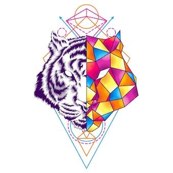 Ilustracja geometrii kolorowy tygrys