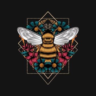 Ilustracja geometrii kwiatu pszczół