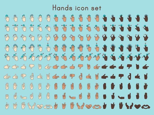 Ilustracja gest rąk w cienkiej linii