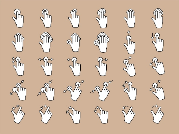 Ilustracja gest ręki ekranu dotykowego w cienkiej linii