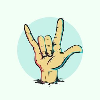 Ilustracja gest ręki rocka