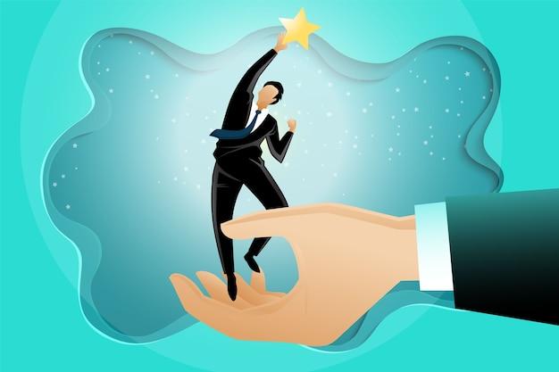 Ilustracja gigantycznej ręki pomagającej biznesmenowi dotrzeć do gwiazd