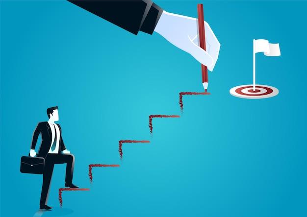 Ilustracja gigantycznej ręki rysowanie schodów ołówkiem pomagając biznesmenowi z walizką idąc w górę. opisać biznes docelowy.