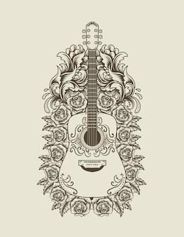 Ilustracja gitara akustyczna z kwiatowym ornamentem w stylu vintage monochromatycznym