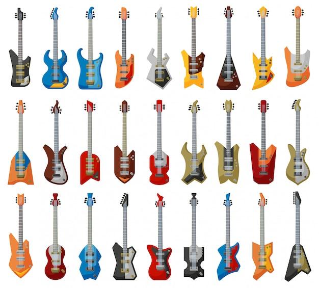 Ilustracja gitara elektryczna. kreskówka zestaw ikona instrument muzyczny.