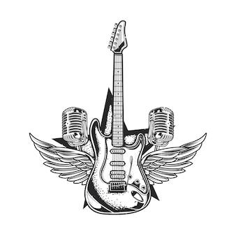 Ilustracja gitary, dwóch mikrofonów i skrzydeł
