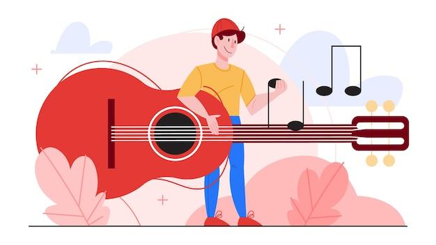 Ilustracja gitarzysta grający muzykę. mężczyzna trzyma