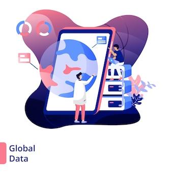 Ilustracja global data, nowoczesny styl