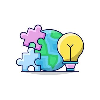 Ilustracja globalnego rozwiązania biznesowego z kulą ziemską, żarówką i układanką