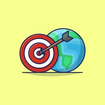 Ilustracja globalnej strategii międzynarodowego biznesu z globe earth oraz tablicą do rzutek lub celem