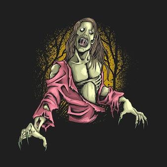 Ilustracja głodny zombie