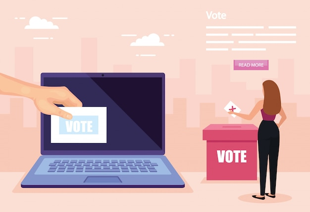 Ilustracja głosowania z kobietą biznesu i laptopa