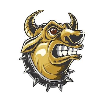 Ilustracja głowa byka złota