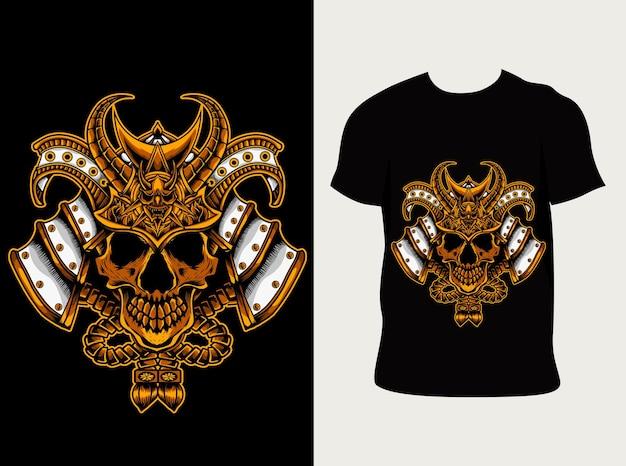 Ilustracja głowa czaszki japońskiego samuraja z projektem koszulki