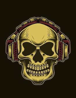 Ilustracja głowa czaszki ze słuchawkami