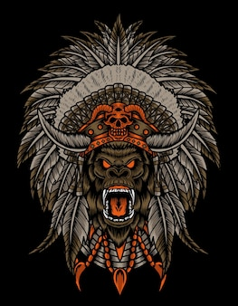Ilustracja głowa goryla z indyjskim kapeluszem apacz