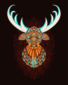Ilustracja głowa jelenia z ornamentem mandali.