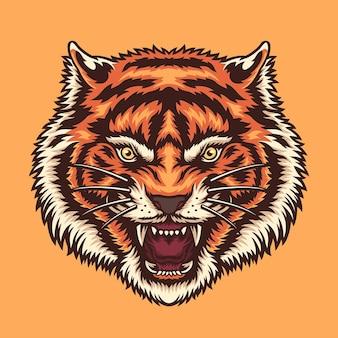 Ilustracja głowa kolorowy tygrys zły