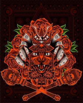 Ilustracja głowa kota z hełmem samuraja i rocznika kwiat róży