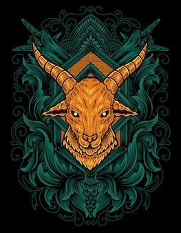 Ilustracja głowa kozy z ornamentem grawerującym