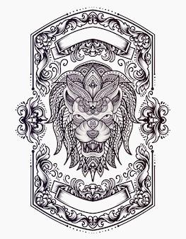 Ilustracja głowa lwa z ornamentem stylu