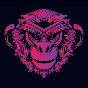 Ilustracja głowa małpy różowy