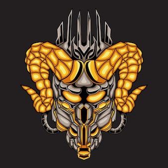 Ilustracja głowa mecha diabła