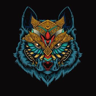 Ilustracja głowa mecha wilka