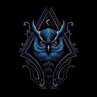 Ilustracja głowa nocnej sowy