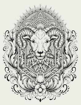 Ilustracja głowa owcy w stylu vintage ornament