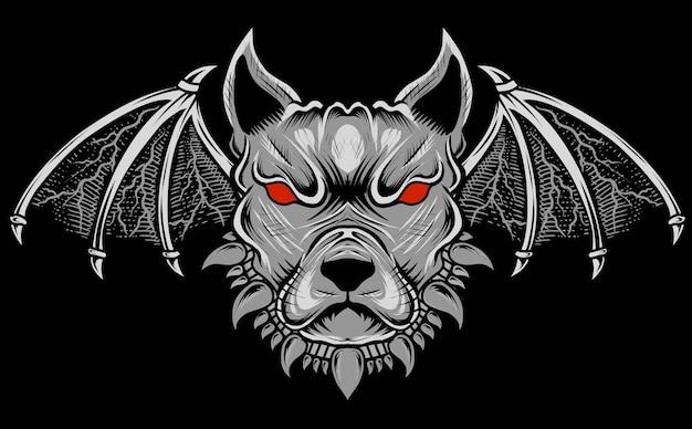 Ilustracja głowa psa demona