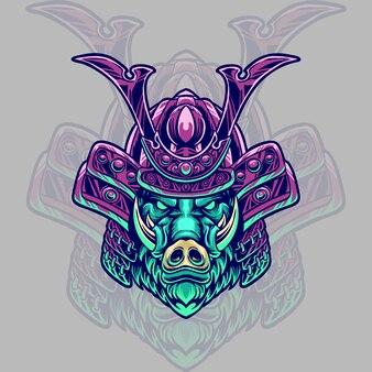 Ilustracja głowa samuraja dzika