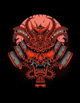 Ilustracja głowa samuraja na czarnej powierzchni