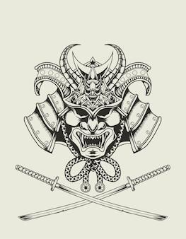 Ilustracja głowa samuraja w stylu monochromatycznym