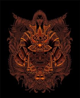 Ilustracja głowa samuraja z przerażającym ornamentem grawerującym
