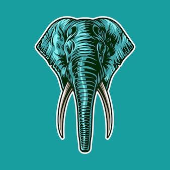 Ilustracja głowa słonia jako maskotka na białym tle w kolorze