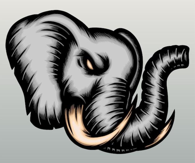 Ilustracja głowa słonia w wyciągnąć rękę