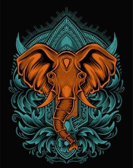 Ilustracja głowa słonia z rocznika ornamentem grawerowania