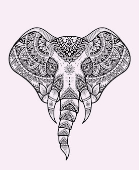 Ilustracja głowa słonia z rocznika ornamentem mandali.